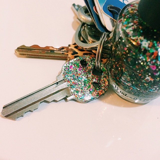Got a little #glitter happy with my new house key :) Three heavy coats of #OPI #RainbowConnection (any glitter polish would work) and then two coats of clear, on each side. #diy #crafty #everythingisbetterwithglitter