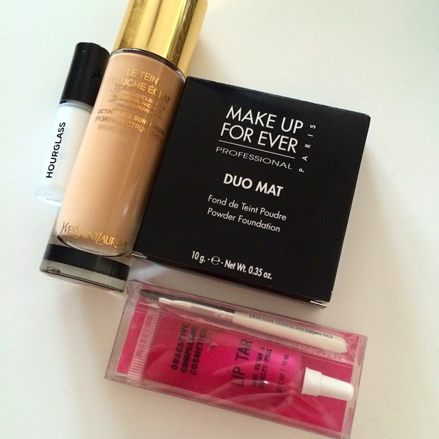 Some new goodies  #makeupforever #obsessivecompulsivecosmetics #ysl #hourglass #liptar