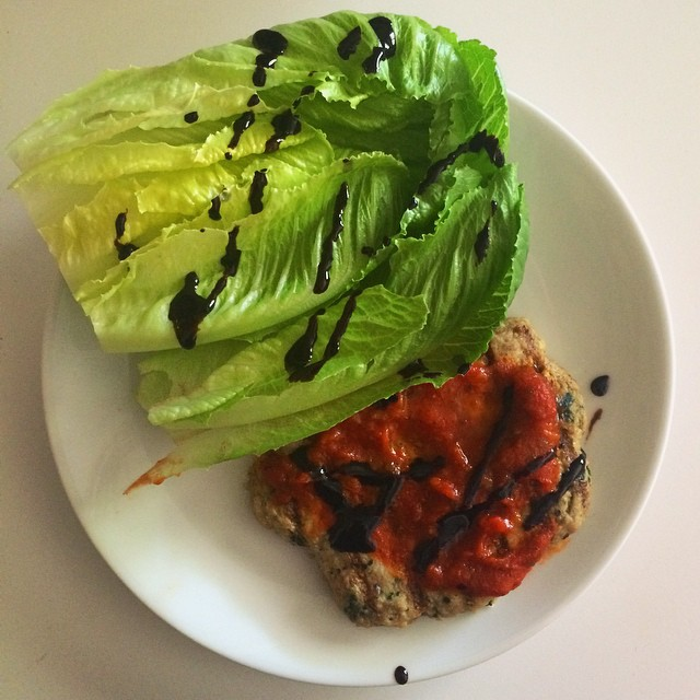 Picking up a prescription at #costco proved to be too much temptation and I grocery shopped a little  I did good though- no purchases from Sunday-today, which is big for me. I'm an almost daily grocery buyer. Anyway, spinach Florentine chicken patty topped with 25g of marinara and a head of baby romaine, of course drizzled with #balsamic, which makes everything better at the expense of about 5 carbs. This took about 2 minutes. #macros- 216 cal, 14C, 21P, 8F#iifym #macrodieting #healthylunch #eatforabs #competitionprep #healthyfood #fastandhealthy #fitfood #fitfam #fitspo #mealprep #costcofood