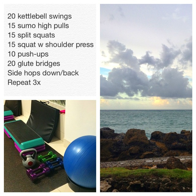 No skipping workouts here... Gotta earn some carbs for all the #mofongo and #empanadas I'm going to put in my face this week! The #hotelgym is surprisingly nice, and I did a sweet little #workout in there followed by a short run at #sunset. Perfection! #fitfam #fitspo #fittravel #puertorico #condado #sanjuan #fullbodyworkout