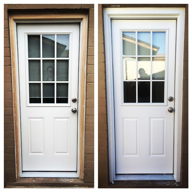Max and I finally got around to painting the new door and the unfinished trim. Happy to finally have it done, but there is something oddly unsatisfying about painting a white thing white  Does admittedly look better than when it was just primed, but still. Glad we got a weekend project checked off the list! #homeimprovement #newdoor #exteriordoor #housepaint #homeremodel #renovation #wemakeagoodteam
